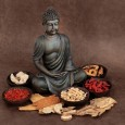 Chinese herbal medicine selection with buddha over handmade lokt