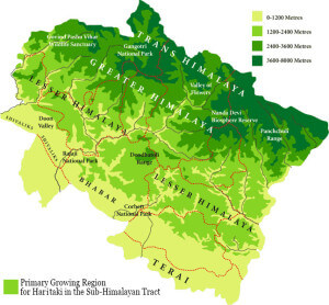 Map of the sub-himalayan tract