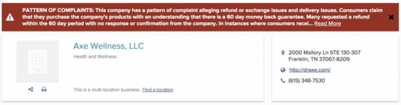dr axe bbb complaints